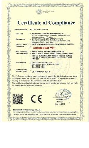 CHANGHONG NI-CD BATTERY CE CERTIFACATE