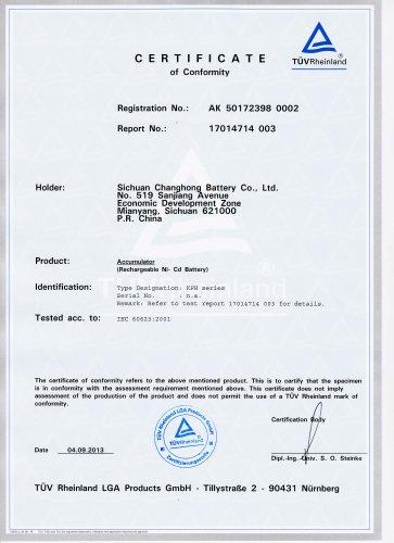 changhong nickel cadmium battery IEC60623-KPH