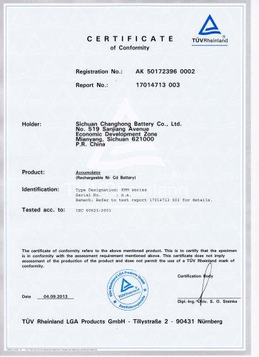 CHANGHONG nickel cadmium battery IEC60623-KPM