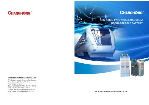 CHANGHONG Sintered Ni-Cd Cell KPX Serie for railway