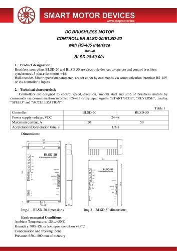 DC BRUSHLESS MOTOR CONTROLLER BLSD-20/BLSD-50