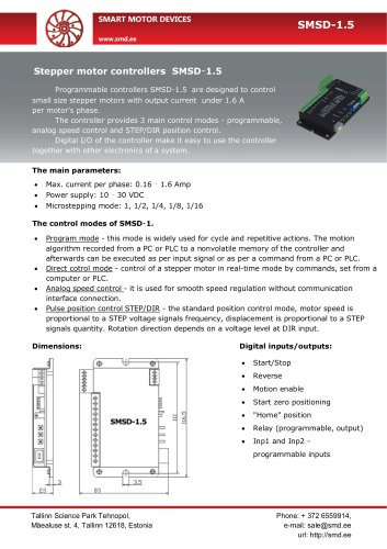 Programmable stepper motor controllers SMSD‑1.5