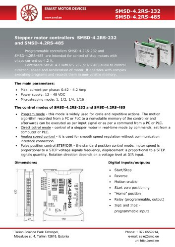 Programmable stepper motor controllers SMSD‑4.2RS-232 and SMSD-4.2RS-485