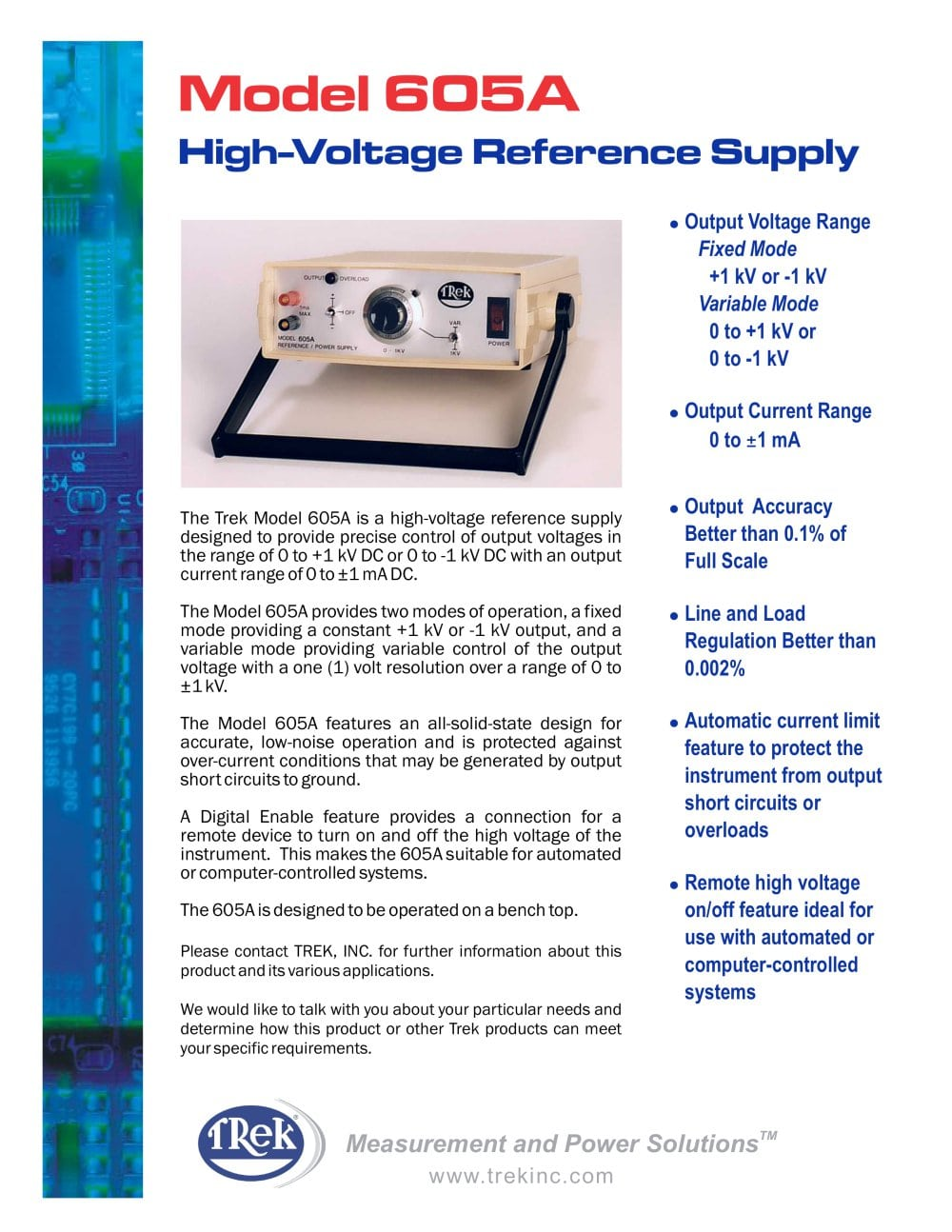 605a High Voltage Reference Supply Trek Inc Pdf Catalogue Of Automatic Control And Regulation Its Input 1 2 Pages