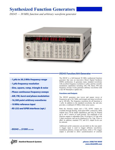 DS345 Function / Arbitrary Waveform Generator
