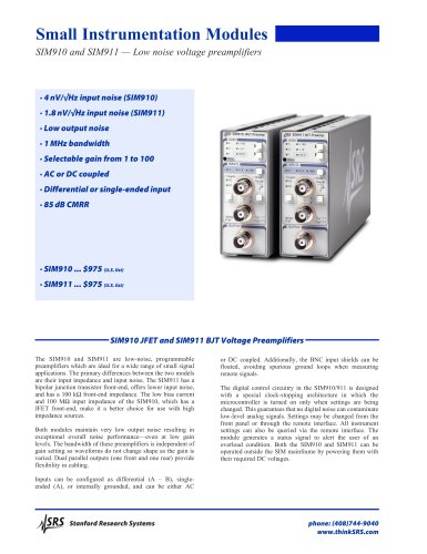 JFET & BJT Voltage Preamplifiers