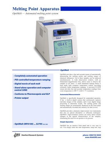 MPA100OptiMelt Automated Melting Point System