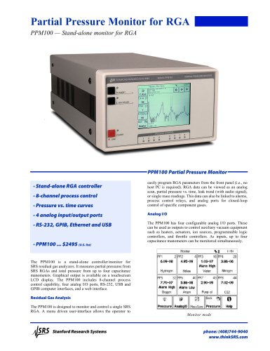 PPM100 — Stand-alone monitor for RGA