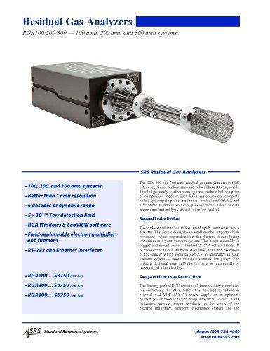 RGAResidual Gas Analyzers
