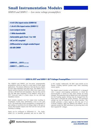 SIM910/911 JFET & BJT Voltage Preamplifiers