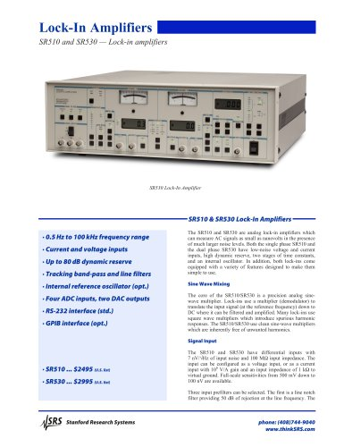 SR510 and SR530 — Lock-in amplifiers