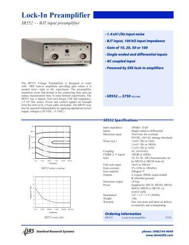 SR552 BJT Input Preamplifier