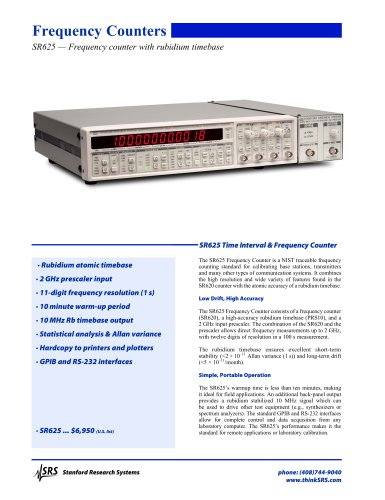 SR625 — Frequency counter with rubidium timebase