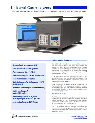 UGA100/200/300 and ULT100/200/300 — 100 amu, 200 amu, and 300 amu systems
