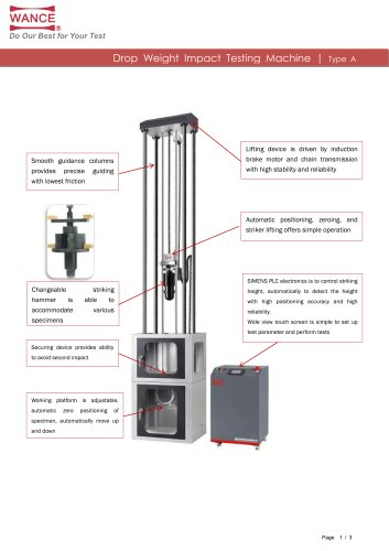 Drop impact tester for plastic pipe 300J