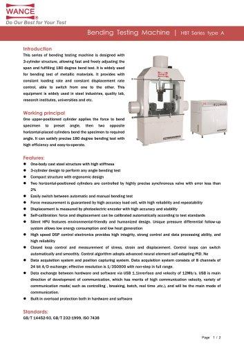 HBT-A Series Bending testing machine