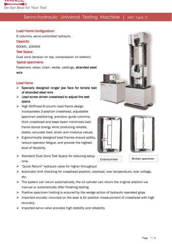 HUT-C Servo-hydraulic UTM