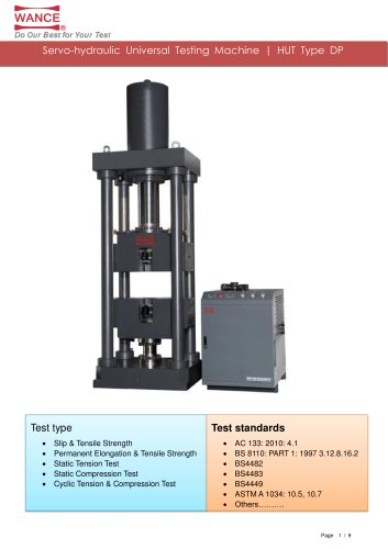 HUT Type DP Servo-hydraulic Universal Testing Machine