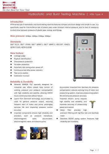 Hydrostatic and Burst Testing Machine