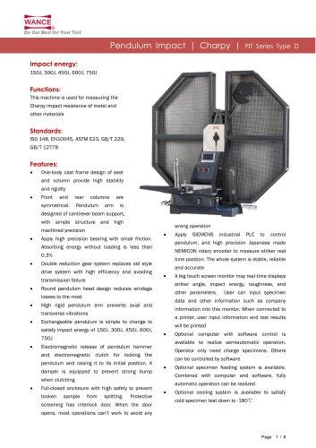 Pendulum impact tester 150J~750J