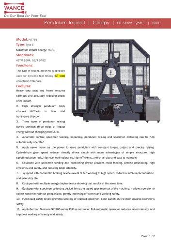 Pendulum impact tester  7500J DT test