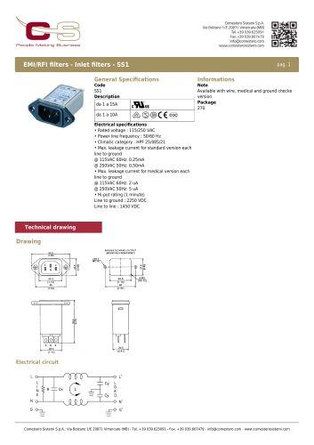 EMI/RFI filters - Inlet filters - SS1
