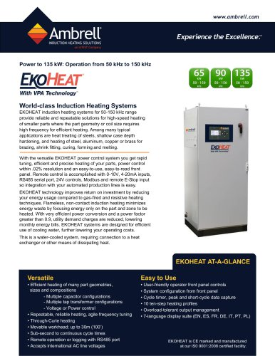 EKOHEAT power to 135kW, operation from 50kHz to 150kHz