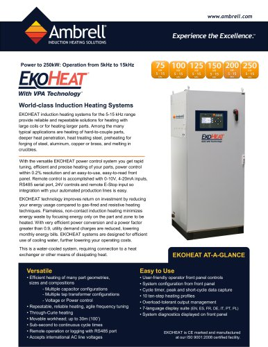 EKOHEAT power to 250kW, operation from 5kHz to 15kHz