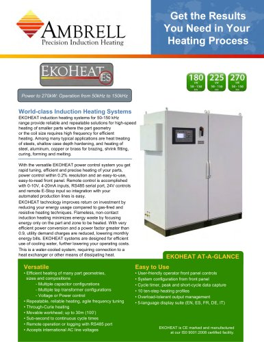 EKOHEAT power to 270kW, operation from 50kHz to 150kHz
