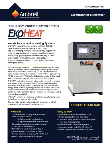 EKOHEAT power to 45kW, operation from 50kHz to 150kHz