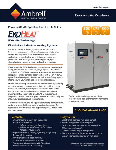 EKOHEAT power to 500kW, operation from 5kHz to 15kHz