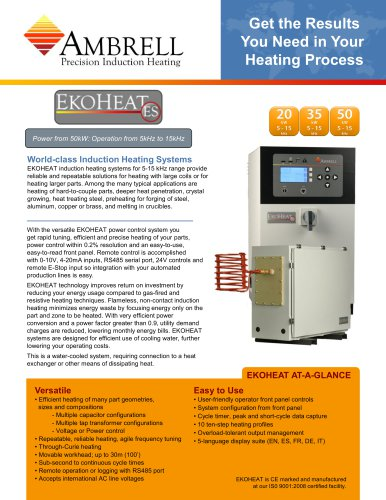 EKOHEAT power to 50kW, operation from 5kHz to 15kHz