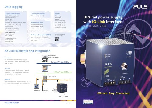 DIN rail power supply with IO-Link interface
