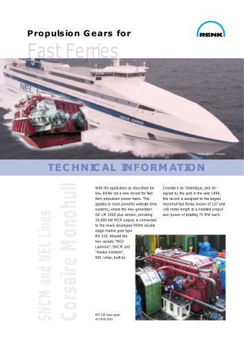 Propulsion Gears for Fast Ferries