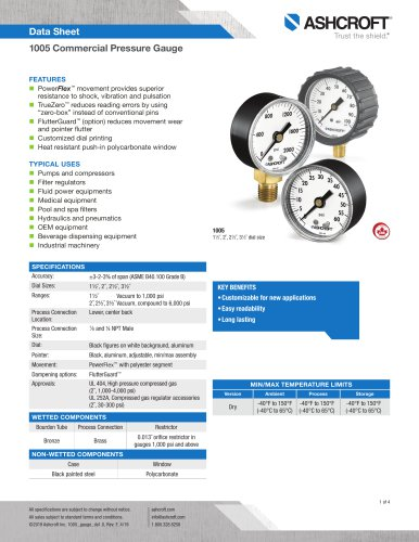 1005 Commercial Pressure Gauge