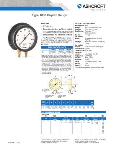 1038A Duplex Pressure Gauge