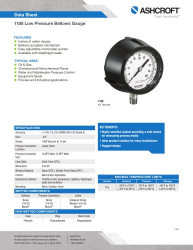1188 Low Pressure Bellows Gauge