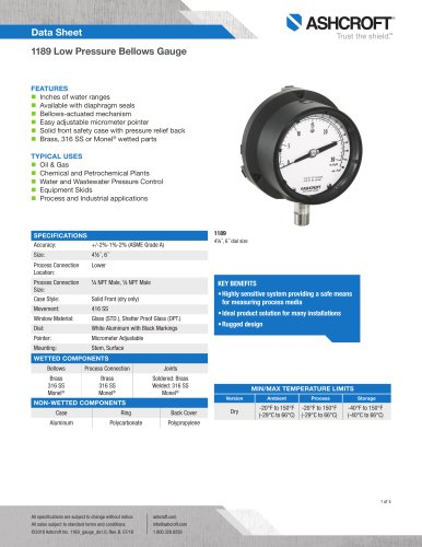 1189 Low Pressure Bellows Gauge