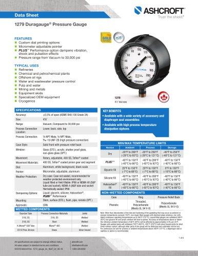 1279 Duragauge® Pressure Gauge