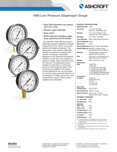 1490 Low Pressure Diaphragm Gauge