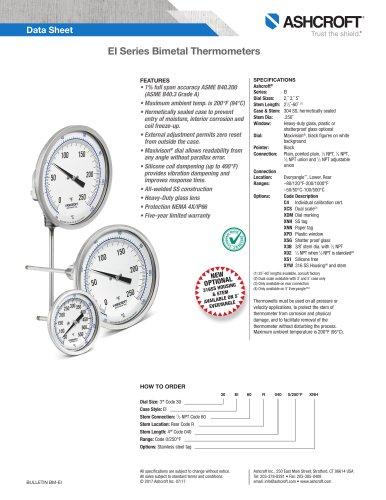 EI Bimetal Thermometer