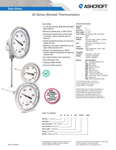 EI Series Bimetal Thermometers