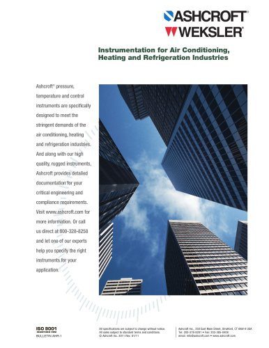 Instrumentation for Air Conditioning, Heating and Refrigeration Industries