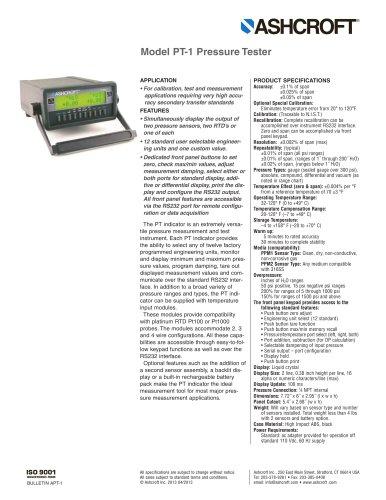 Model PT-1 Pressure Tester