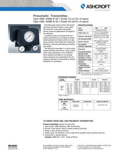 Pneumatic Transmitter, Type 4080