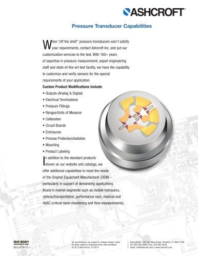 Pressure Transducer Capabilities