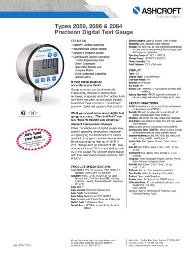 Types 2089, 2086 & 2084 Precision Digital Test Gauge