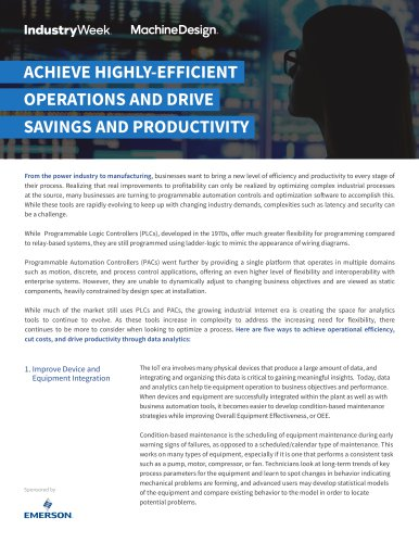 ACHIEVE HIGHLY-EFFICIENT OPERATIONS AND DRIVE SAVINGS AND PRODUCTIVITY