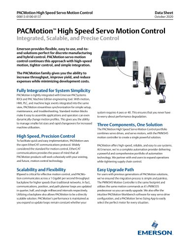 PACMotion High Speed Servo Motion Control