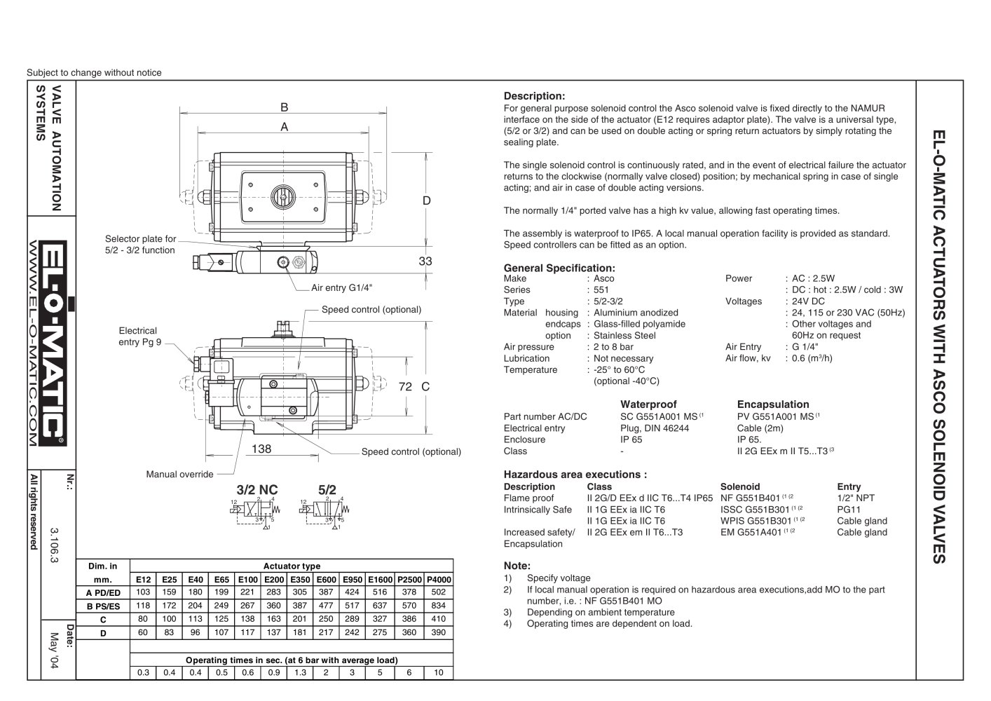 El O Matic Actuators With Asco Solenoid Valves Pdf 120 Volt Switch Wiring Diagram 1 Pages